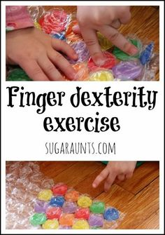 """Finger dexterity is essential for many self care and handwriting skills.This finger exercise game works on finger isolation and separation of the two sides of the hand. This easy-to-make game is a great way to explore colors and get those fingers moving!  A great """"warm-up"""" exercise before handwriting or typing! By Sugar Aunts."""