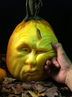 Ray Villafane, of New York, creates pumpkin sculptures. Each wrinkly, orange globe that Villafane digs into is brought to life with an animated expression.