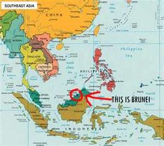 Map showing location of Brunei
