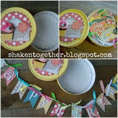 shaken together: {create this} birthday banner in a box using a Laughing Cow cheese box