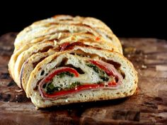 Three Cheese Broccoli Rabe, Prosciutto and Roasted Red Pepper Stromboli @Lisa