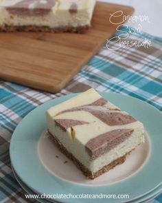 Cinnamon Swirl Cheesecake Bars-A lighter cheesecake with the simple flavors of vanilla and cinnamon swirled together!