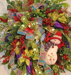 XL Frosty the Snowman Christmas Door Wreath Many by LadybugWreaths, $229.97