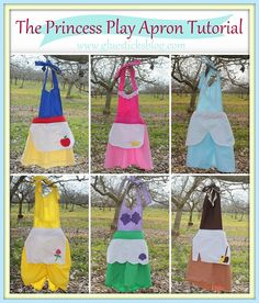 Simple Halloween Costume idea. Make one of these Princess Aprons (using inexpensive, but sturdy cotton fabric) and wear over a turtleneck or sweater and leggings! Cute and warm for Halloween night! FREE tutorial to make 6 different princess aprons!
