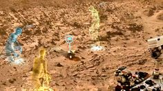 """NASA, Microsoft Collaboration Will Allow Scientists to 'Work on Mars' - A screen view from OnSight, a software tool developed by NASA's Jet Propulsion Laboratory in collaboration with Microsoft. OnSight uses real rover data to create a 3-D simulation of the Martian environment where mission scientists can """"meet"""" to discuss rover operations. Image credit: NASA/JPL-Caltech"""