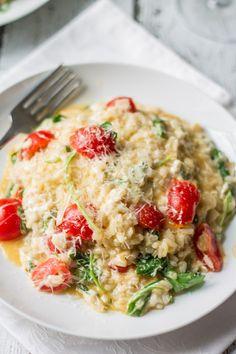 Fresh Tomatoes, Mozzarella and Arugula Risotto
