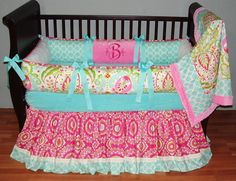 Sweet And Feminine Baby Girls Bedding Sets : Sweet Colorful Baby Girls Bedding Set Inspiration with Aqua Ribbons for Sophisticated Girls Nur...