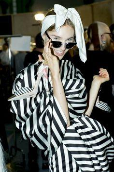 Backstage at the Giambattista Valli Fall 2014 Couture show.
