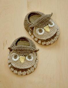 Owl Baby Booties #crochet #pattern