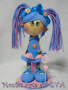 love the pink and blue intermixed, on this fun foam doll