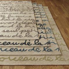 I like the idea of words on a rug