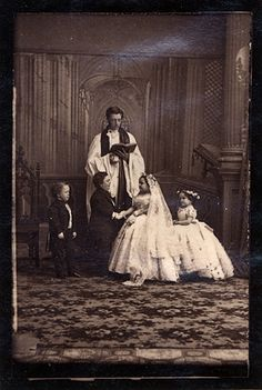 """General Tom Thumb (1838-1883) was a dwarf who achieved great fame under circus pioneer P.T. Barnum. Above is a photo taken Feb 10, 1863 of his marriage to Lavinia Warren at Grace Episcopal Church. The best man at the wedding was George Washington Morrison """"Commodore"""" Nutt, another dwarf performer in Barnum's employ.    Following the wedding, the couple was received by President Lincoln at the White House."""