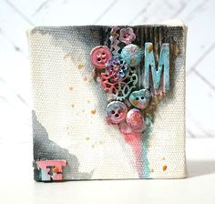 Marina's Craft Space: 4x4 Mixed Media Canvas - non-gessed canvases are fun to work with - perfect for stamps, stencils, paint, rub ons, iron-ons.  fun to work with. #4x4challenge #canvascorpbrandscrew #canvascorp