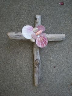 Beach Driftwood Cross Mosaic of Shells and Rose by MariposaMosaics