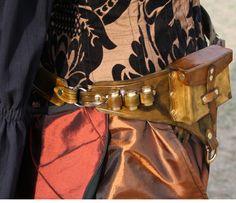 Steampunk Utility Leather Belt Green.