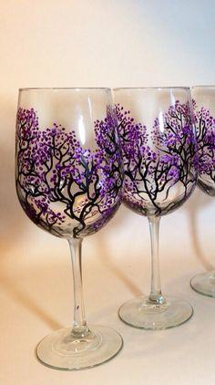 Just beautiful Set of 2 Large Wine Glasses - Purple Cherry Blossom Hand Painted Wine Glasses, Purple