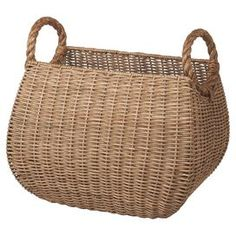 """Perfect for stowing beach towels and outdoor accessories in the mudroom or books and magazines in the den, this cottage-chic basket showcases a woven rattan design and 2 cutout handles.    Product: BasketConstruction Material: RattanColor: NaturalFeatures:  Cutout handlesWoven design Dimensions: 13"""" H x 18"""" W x 12"""" D"""