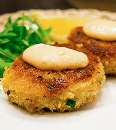 Crab Cakes with Spicy Mayo. Crispy on the outside, loaded with sweet ...