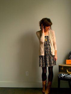 Dress. Tights. Boots. Cardigan.