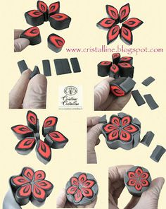 Fimo Crystal, jewelry and polymer tutorial: Tutorial / cane flowers