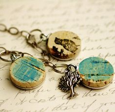 Wine Cork Necklace (neat idea!) by uncorked on etsy. Neat DIY idea!!!!  Can even decoupage a pic on it!!!!