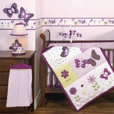 Sweet And Feminine Baby Girls Bedding Sets : Charming Butterfly and Flower Baby Girls Bedding Set Inspiration in Cute Lavender Girls Nursery...