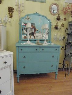 antique dresser aqua turquoise blue shabby chic distressed beach cottage eclectic dressers chests and bedroom armoires