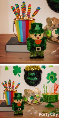 Leprechauns and kids alike will enjoy these festive St. Patrick's Day treats! Celebrate the holiday with chocolate gold coins, rainbow lollipops and candy sticks in the colors of the Irish flag! Round out your sweet spread with green and clear bowls with shamrock clings.