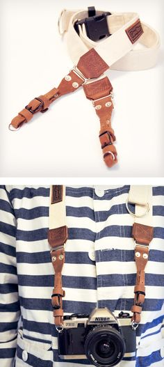 Canvas + Leather Camera Strap......I need this so much. It would be so cute on my camera.