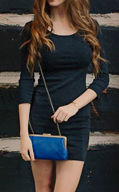 Leather Clutch / Royal Blue