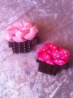 Cupcake Ribbon Sculpture hair clip by SweetTangerineBoutiq on Etsy, $5.00