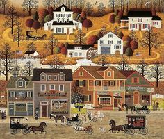 Charles Wysocki: Hawkriver Hollow...we always had a calendar with this art on it when I was a kid... I looooved them