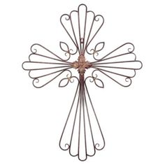 The artfully crafted metal wirework of this plaque forms a unique cross to display in your home. Its distressed rust red finish enhances any decor. #kirklands #lifeonthelanai #cross #plaque