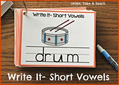 Write It Phonics Cards for Short Vowel Sounds. Use a dry erase marker, wipe clean and use over and over again!
