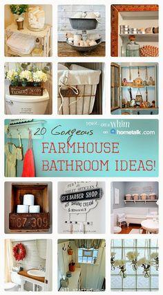 20 Gorgeous Farmhouse Bathroom Ideas | curated by 'Denise on a Whim' blog!