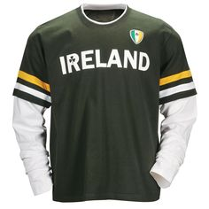 Layered Look Ireland T-Shirt.  Without the bulk of double layers, this 100% cotton shirt pays tribute to the colors of Ireland. Designed in Ireland. Sizes S, M, L, XL, 2XL.
