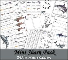 Free Mini Shark Pack for ages 2 to 7. Over 30 pages of activities from 3Dinosaurs.com