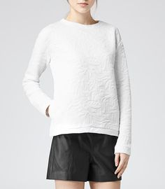 Womens White Quilted Sweatshirt - Reiss Prince