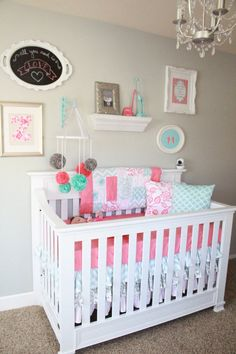 Project Nursery - Coral and Aqua Nursery. This is my inspiration picture for the twins' nursery!!!