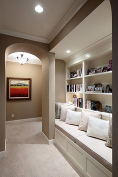 Hallway Library...clever idea to use space and make it functional.