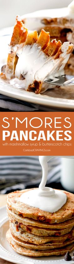 These AMAZING fluffy S'mores Pancakes make the funnest breakfast or ...