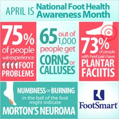 Stay on your toes this month (pun intended) with facts and tips about foot health, plantar fasciitis, corns, calluses, Morton's neuroma, pain in your arches and heels and other foot problems. Find out how to take care of your feet from heel to toe. #FootHealthAwareness