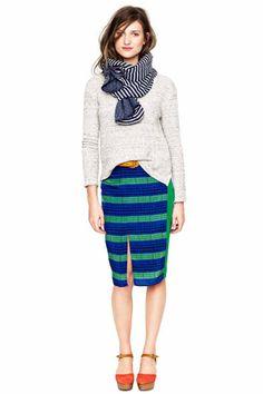 Striped split skirt from Madewell Fall '12
