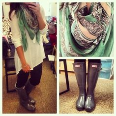 rainy day - long shirt with leggings and Hunter's