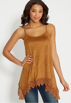 faux suede tank with crochet and shark bite hem (original price, $32) available at #Maurices