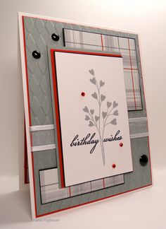 """Gina K Designs - Stamp Tv Kit """"Birthday Essentials"""" I used the stamp set """"Birthday Blessings"""" from the kit. Gina K Designs Pure Luxury Card Stock, Patterned Paper from the 6x6 Poppy Prints paper pack. Along with some Gina K Ribbon. These item are available @ http://www.shop.ginakdesigns.com Made by Karen Hightower for Gina K Designs!"""