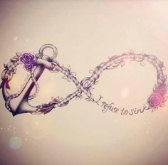"""An anchor tattoo can be the most simple tattoo design or can be inked in a more intricate manner, much like this cool anchor tattoo featuring an infinity sign, roses and the phrase """"I refuse to sink."""" The anchor is tilted on its side instead of being inked straight on, and the rope ..."""
