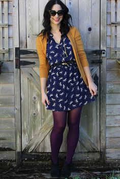 Cute and unusual color combination.  the year of colored tights   Because of Jackie