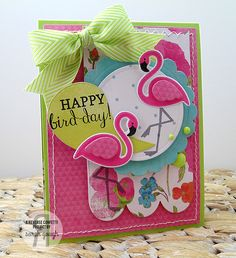Card designed by Sarah Gough. Reverse Confetti stamp set: Fabulous Flamingo. Confetti Cuts: Fabulous Flamingo and Circles 'n Scallops. Birthday card. Pink Flamingos.