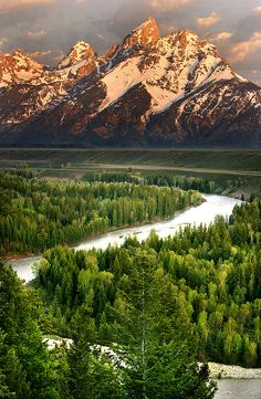 The Snake River flowing through Jackson Hole, WY with the Teton's beyond.